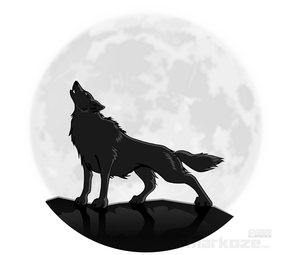 Howling Wolf at the moon, by markoze