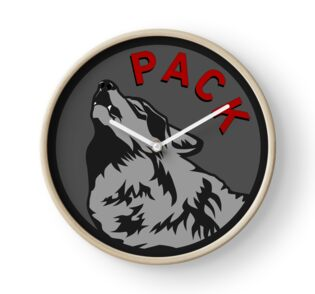 Wolf Pack Logo Clock