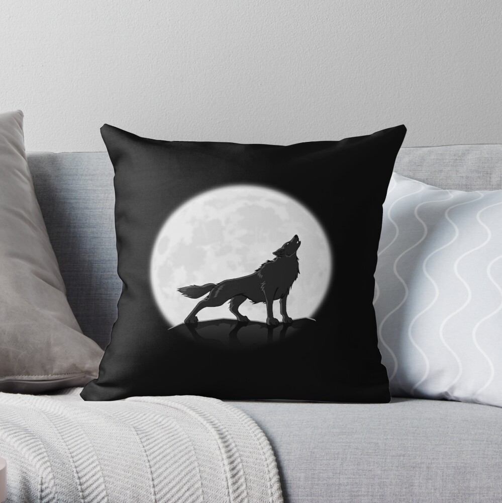 Black Pillow Howling Wolf