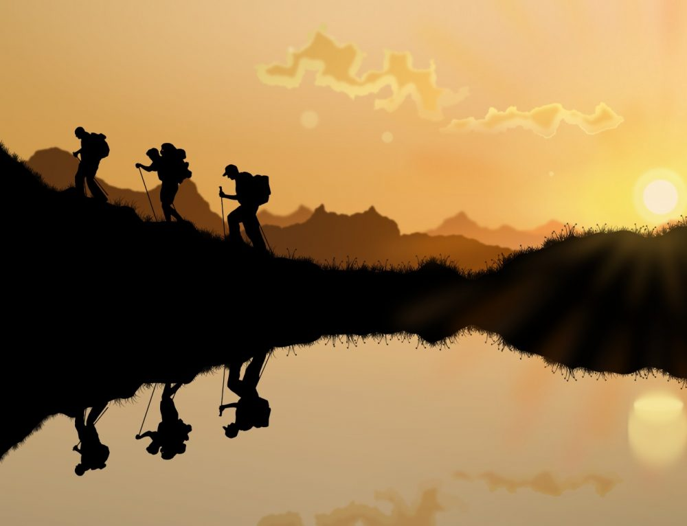 Hikers in the sunset