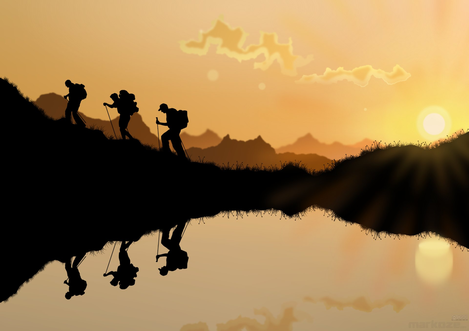 Hikers in the red sunset