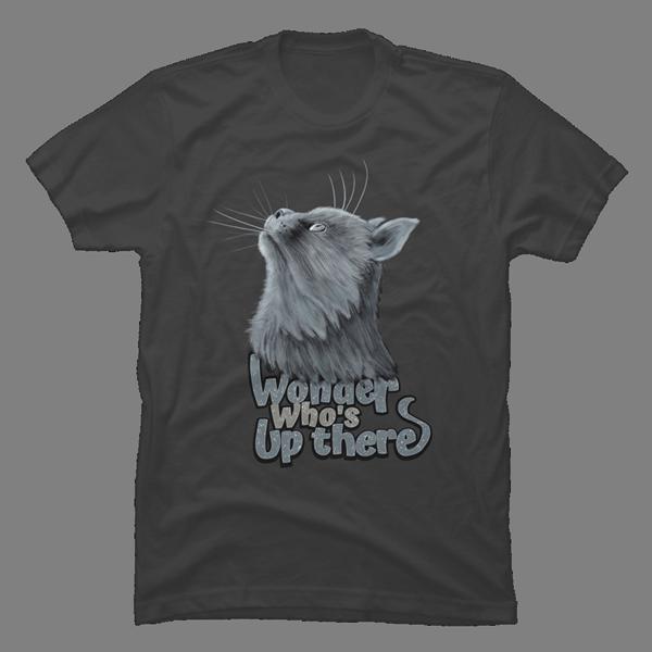 T-Shirt Cat Wondering