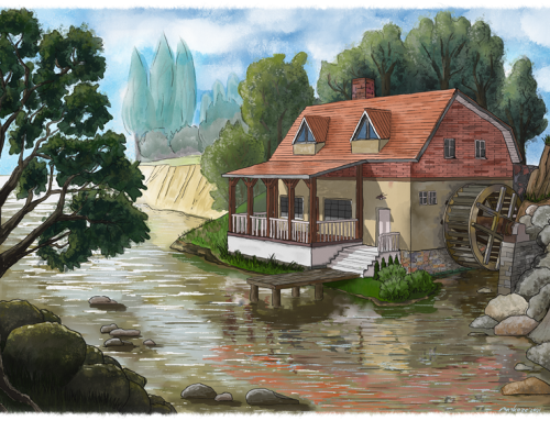 Old water mill by the river